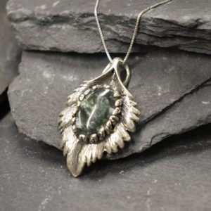 Shop Seraphinite Pendants! Seraphinite Pendant, Natural Seraphinite, Large Leaf Pendant, Sterling Silver Pendant, Statement Necklace, Heavy Pendant, Seraphim Pendant | Natural genuine Seraphinite pendants. Buy crystal jewelry, handmade handcrafted artisan jewelry for women.  Unique handmade gift ideas. #jewelry #beadedpendants #beadedjewelry #gift #shopping #handmadejewelry #fashion #style #product #pendants #affiliate #ad