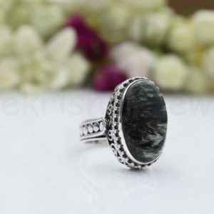 Shop Seraphinite Rings! Seraphinite Stone Ring, Sterling Silver Ring, Long Oval Gemstone Ring, Statement Ring, Cabochon Gemstone, Silver Band Ring, Gift Ring, Boho   Natural genuine Seraphinite rings, simple unique handcrafted gemstone rings. #rings #jewelry #shopping #gift #handmade #fashion #style #affiliate #ad