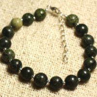 Bracelet 925 Sterling Silver And Semi Precious – Serpentine 8 Mm | Natural genuine Gemstone jewelry. Buy crystal jewelry, handmade handcrafted artisan jewelry for women.  Unique handmade gift ideas. #jewelry #beadedjewelry #beadedjewelry #gift #shopping #handmadejewelry #fashion #style #product #jewelry #affiliate #ad