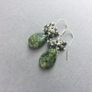 Shop Serpentine Earrings! Serpentine earrings with pyrite, sterling silver ear wires, dark green serpentine stone drop with pyrite tiny stones, fool's gold dangles | Natural genuine Serpentine earrings. Buy crystal jewelry, handmade handcrafted artisan jewelry for women.  Unique handmade gift ideas. #jewelry #beadedearrings #beadedjewelry #gift #shopping #handmadejewelry #fashion #style #product #earrings #affiliate #ad