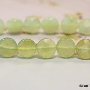 M/ New Jade 12mm/ 10mm Faceted Coin strand Natural light green serpentine Color shade varies Wholesale discount @EARTHSTONE.COM | Natural genuine faceted Serpentine beads for beading and jewelry making.  #jewelry #beads #beadedjewelry #diyjewelry #jewelrymaking #beadstore #beading #affiliate #ad