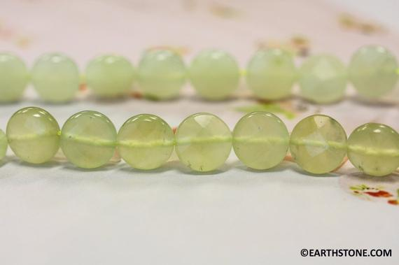 M/ New Jade 12mm/ 10mm Faceted Coin Strand Natural Light Green Serpentine Color Shade Varies Wholesale Discount @earthstone.com