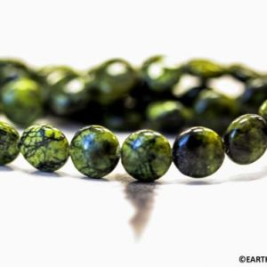 "M/ Russian Serpentine 8mm/ 10mm Coin beads about 16"" long Real Serpentine from Russia Not dyed dark green Jewelry supply 