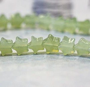 """Shop Serpentine Bead Shapes! S/ New Jade 6mm/ 4mm Star beads 15.5"""" strand Natural light green serpentine nephrite Shade varies tiny star. Small size star. Earthstone.com 