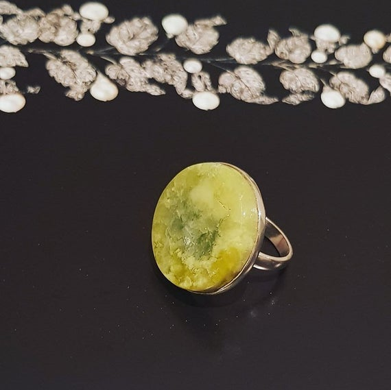 Serpentine Ring, Handmade Natural Yellow Serpentine In Silver Ring, Valentines Gift