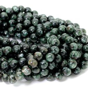 Shop Serpentine Round Beads! Natural Seraphinite, Russian Seraphinite Smooth Round Sphere Loose Gemstone Beads – RN127   Natural genuine round Serpentine beads for beading and jewelry making.  #jewelry #beads #beadedjewelry #diyjewelry #jewelrymaking #beadstore #beading #affiliate #ad