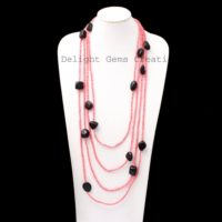 Pink Coral And Shungite Smooth Round & Tumble Bead Necklace, 100 Inches Endless Necklace, Multi Layering Designer Necklace, Wrap Necklace | Natural genuine Gemstone jewelry. Buy crystal jewelry, handmade handcrafted artisan jewelry for women.  Unique handmade gift ideas. #jewelry #beadedjewelry #beadedjewelry #gift #shopping #handmadejewelry #fashion #style #product #jewelry #affiliate #ad