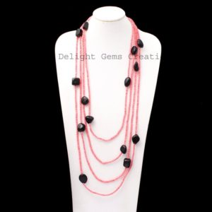 Shop Shungite Necklaces! Pink Coral And Shungite Smooth Round & Tumble Bead Necklace, 100 Inches Endless Necklace, Multi Layering Designer Necklace, Wrap Necklace | Natural genuine Shungite necklaces. Buy crystal jewelry, handmade handcrafted artisan jewelry for women.  Unique handmade gift ideas. #jewelry #beadednecklaces #beadedjewelry #gift #shopping #handmadejewelry #fashion #style #product #necklaces #affiliate #ad