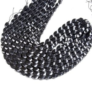 Shop Shungite Beads! Natural Smooth Shungite Gemstone Grade AAA Twisted Barrel Drum 15x9MM Loose Beads (D48) | Natural genuine other-shape Shungite beads for beading and jewelry making.  #jewelry #beads #beadedjewelry #diyjewelry #jewelrymaking #beadstore #beading #affiliate #ad