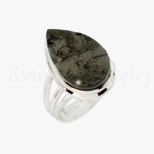 Shop Shungite Rings! Artisan Shungite Ring, 925 Sterling Silver, Pear Gemstone, Split Band Ring, Indianmade Ring, Cabochon Gemstone, Women's Jewelry, Sale Ring | Natural genuine Shungite rings, simple unique handcrafted gemstone rings. #rings #jewelry #shopping #gift #handmade #fashion #style #affiliate #ad