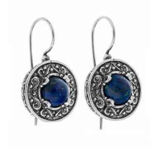 Shop Azurite Earrings! Silver Azurite Earrings, Sterling Silver Earrings, Handmade Silver Earrings, Lapis Lazuli Earrings, Handmade in Israel, Gift for Her | Natural genuine Azurite earrings. Buy crystal jewelry, handmade handcrafted artisan jewelry for women.  Unique handmade gift ideas. #jewelry #beadedearrings #beadedjewelry #gift #shopping #handmadejewelry #fashion #style #product #earrings #affiliate #ad