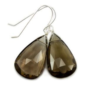 Shop Smoky Quartz Earrings! Smoky Quartz Earrings Faceted Large Teardrop Briolette Smokey Sterling Silver or 14k Gold Filled or 14k solid gold simple everyday drops | Natural genuine Smoky Quartz earrings. Buy crystal jewelry, handmade handcrafted artisan jewelry for women.  Unique handmade gift ideas. #jewelry #beadedearrings #beadedjewelry #gift #shopping #handmadejewelry #fashion #style #product #earrings #affiliate #ad