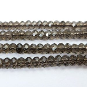 natural smoky quartz faceted rondelles – small faceted quartz beads – 2x4mm abacus beads – quartz jewelry beads – gemstone beads -15inch | Natural genuine faceted Smoky Quartz beads for beading and jewelry making.  #jewelry #beads #beadedjewelry #diyjewelry #jewelrymaking #beadstore #beading #affiliate #ad