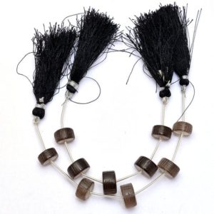 Shop Smoky Quartz Rondelle Beads! Smoky Quartz Gemstone Heishi Carving Beads | 11mm-13mm Tyre Rondelle | Natural Brown Smoky Semi Precious Gemstone Carving | 5 Loose Beads | Natural genuine rondelle Smoky Quartz beads for beading and jewelry making.  #jewelry #beads #beadedjewelry #diyjewelry #jewelrymaking #beadstore #beading #affiliate #ad