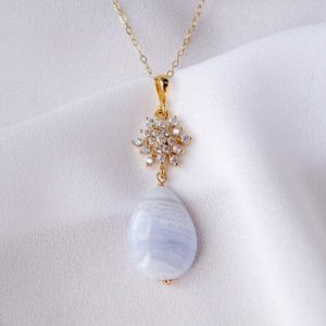 Shop Blue Lace Agate Necklaces! Snow Charm With Teardrop Blue Lace Agate Necklace – Gold Filled | Natural genuine Blue Lace Agate necklaces. Buy crystal jewelry, handmade handcrafted artisan jewelry for women.  Unique handmade gift ideas. #jewelry #beadednecklaces #beadedjewelry #gift #shopping #handmadejewelry #fashion #style #product #necklaces #affiliate #ad