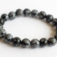 Snowflake Obsidian Bracelet Beaded Mala Bracelet Charm Gemstone Stretch Bracelet Wish Bead Crystal Bracelets Men Mens Womens Birthstone | Natural genuine Gemstone jewelry. Buy handcrafted artisan men's jewelry, gifts for men.  Unique handmade mens fashion accessories. #jewelry #beadedjewelry #beadedjewelry #shopping #gift #handmadejewelry #jewelry #affiliate #ad