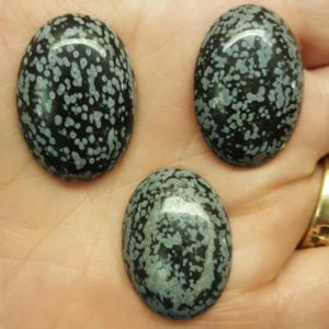 Snowflake Obsidian Cabochon 30 x 22 mm SOC3022A | Natural genuine stones & crystals in various shapes & sizes. Buy raw cut, tumbled, or polished gemstones for making jewelry or crystal healing energy vibration raising reiki stones. #crystals #gemstones #crystalhealing #crystalsandgemstones #energyhealing #affiliate #ad