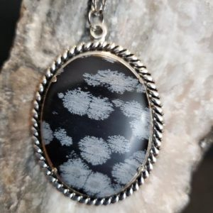 Shop Snowflake Obsidian Necklaces! Snowflake Obsidian Cabochon with Silverplated Cable Chain | Natural genuine Snowflake Obsidian necklaces. Buy crystal jewelry, handmade handcrafted artisan jewelry for women.  Unique handmade gift ideas. #jewelry #beadednecklaces #beadedjewelry #gift #shopping #handmadejewelry #fashion #style #product #necklaces #affiliate #ad