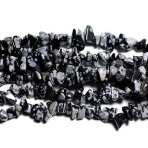 Shop Snowflake Obsidian Chip & Nugget Beads! Wire 89cm 320pc env – stone beads – rock Chips 5-10mm snowflake Obsidian | Natural genuine chip Snowflake Obsidian beads for beading and jewelry making.  #jewelry #beads #beadedjewelry #diyjewelry #jewelrymaking #beadstore #beading #affiliate #ad