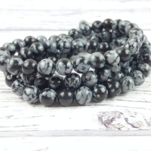 Shop Snowflake Obsidian Bead Shapes! Obsidian 6mm Beads, Reiki Infused Gemstone Beads, Snowflake Obsidian A Extra Grade Crystal Beads | Natural genuine other-shape Snowflake Obsidian beads for beading and jewelry making.  #jewelry #beads #beadedjewelry #diyjewelry #jewelrymaking #beadstore #beading #affiliate #ad