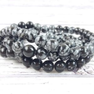 Shop Snowflake Obsidian Bead Shapes! Obsidian 8mm Beads, Reiki Infused Gemstone Beads, Snowflake Obsidian A Extra Grade Crystal Beads | Natural genuine other-shape Snowflake Obsidian beads for beading and jewelry making.  #jewelry #beads #beadedjewelry #diyjewelry #jewelrymaking #beadstore #beading #affiliate #ad