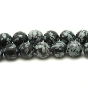 Shop Snowflake Obsidian Bead Shapes! Wire 39cm 37pc env – stone beads – snowflake Obsidian flecked 10 mm | Natural genuine other-shape Snowflake Obsidian beads for beading and jewelry making.  #jewelry #beads #beadedjewelry #diyjewelry #jewelrymaking #beadstore #beading #affiliate #ad