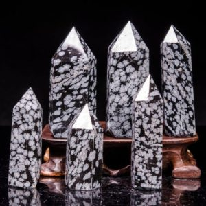 Shop Snowflake Obsidian Points & Wands! Snowflake Obsidian Quartz Point/Obsidian  Wand/Shiny Polished Obsidian Tower(Size:,30mm,40mm,50mm,60mm,70mm,80mm,90mm,100mm,150mm,200mm) | Natural genuine stones & crystals in various shapes & sizes. Buy raw cut, tumbled, or polished gemstones for making jewelry or crystal healing energy vibration raising reiki stones. #crystals #gemstones #crystalhealing #crystalsandgemstones #energyhealing #affiliate #ad