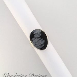 Shop Snowflake Obsidian Rings! Snowflake Obsidian Ring, Size 6, Sterling Silver, Statement Ring, Silversmith, Handmade, Wandering Designs, Art Jewelry, Gemstone Ring | Natural genuine Snowflake Obsidian rings, simple unique handcrafted gemstone rings. #rings #jewelry #shopping #gift #handmade #fashion #style #affiliate #ad