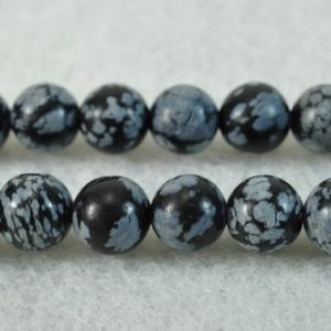 Shop Snowflake Obsidian Beads! Snowflake Obsidian,15 inch full  strand Black Snowflake Obsidian smooth round beads 6mm 8mm 10mm 12mm for Choice | Natural genuine beads Snowflake Obsidian beads for beading and jewelry making.  #jewelry #beads #beadedjewelry #diyjewelry #jewelrymaking #beadstore #beading #affiliate #ad