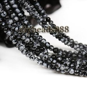 Shop Snowflake Obsidian Round Beads! Snowflake Obsidian,15 inch full strand Black Snowflake Obsidian smooth round beads 2mm 3mm for Choice | Natural genuine round Snowflake Obsidian beads for beading and jewelry making.  #jewelry #beads #beadedjewelry #diyjewelry #jewelrymaking #beadstore #beading #affiliate #ad