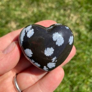 "Shop Snowflake Obsidian Stones & Crystals! Snowflake Obsidian Crystal Heart (~1.75"") – Healing Crystals And Stones – Snowflake Obsidian Stone Heart – Snowflake Obsidian Heart Stone 
