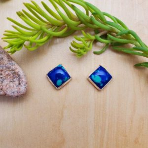 Shop Azurite Earrings! SoCute925 8mm Square Azurite Malachite Stud Earrings | Sterling Silver Post Earrings | Square Studs | Small Azurite Studs | Azurite Earrings | Natural genuine Azurite earrings. Buy crystal jewelry, handmade handcrafted artisan jewelry for women.  Unique handmade gift ideas. #jewelry #beadedearrings #beadedjewelry #gift #shopping #handmadejewelry #fashion #style #product #earrings #affiliate #ad