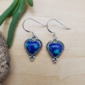 Shop Heart Shaped Earrings! SoCute925 Heart Shape Azurite Malachite Dangle Earrings | Heart Dangle Earrings | Sterling Silver Earrings | Azurite Jewelry | Made in USA | Natural genuine Gemstone earrings. Buy crystal jewelry, handmade handcrafted artisan jewelry for women.  Unique handmade gift ideas. #jewelry #beadedearrings #beadedjewelry #gift #shopping #handmadejewelry #fashion #style #product #earrings #affiliate #ad