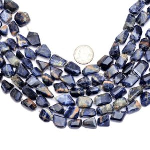 Shop Sodalite Chip & Nugget Beads! Sodalite Gemstone Faceted Nugget Beads | AAA Sodalite 14mm-16mm Step Cut Uneven | Natural Semi Precious Gemstone Rare Beads | 15inch Strand | Natural genuine chip Sodalite beads for beading and jewelry making.  #jewelry #beads #beadedjewelry #diyjewelry #jewelrymaking #beadstore #beading #affiliate #ad