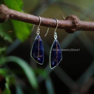 Shop Sodalite Earrings! Natural Sodalite Earrings, 925 Sterling Silver Earrings, Natural Gemstone Earrings, Boho Earrings, 12x28mm Fancy Earrings, Handmade Earrings | Natural genuine Sodalite earrings. Buy crystal jewelry, handmade handcrafted artisan jewelry for women.  Unique handmade gift ideas. #jewelry #beadedearrings #beadedjewelry #gift #shopping #handmadejewelry #fashion #style #product #earrings #affiliate #ad