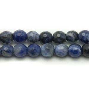 Shop Sodalite Faceted Beads! 10pc – beads of stone – Sodalite 6mm 4558550037824 faceted balls | Natural genuine faceted Sodalite beads for beading and jewelry making.  #jewelry #beads #beadedjewelry #diyjewelry #jewelrymaking #beadstore #beading #affiliate #ad