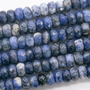 Shop Sodalite Faceted Beads! Genuine Natural Blue Sodalite Loose Beads Faceted Rondelle Shape 10x6MM | Natural genuine faceted Sodalite beads for beading and jewelry making.  #jewelry #beads #beadedjewelry #diyjewelry #jewelrymaking #beadstore #beading #affiliate #ad