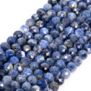 Shop Sodalite Faceted Beads! Genuine Natural Blue Sodalite Loose Beads Grade A Faceted Round Shape 5mm | Natural genuine faceted Sodalite beads for beading and jewelry making.  #jewelry #beads #beadedjewelry #diyjewelry #jewelrymaking #beadstore #beading #affiliate #ad