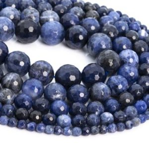 Shop Sodalite Faceted Beads! Genuine Natural Sodalite Loose Beads Micro Faceted Round Shape 6mm 8mm 10mm 12mm | Natural genuine faceted Sodalite beads for beading and jewelry making.  #jewelry #beads #beadedjewelry #diyjewelry #jewelrymaking #beadstore #beading #affiliate #ad