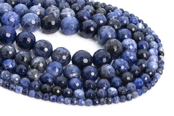 Genuine Natural Sodalite Loose Beads Micro Faceted Round Shape 6mm 8mm 10mm 12mm