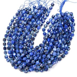 Shop Sodalite Faceted Beads! Natural Sodalite Gemstone Grade AAA Faceted Prism Double Point Cut 6MM 8MM 10MM Loose Beads BULK LOT 1,2,6,12 and 50 (D30) | Natural genuine faceted Sodalite beads for beading and jewelry making.  #jewelry #beads #beadedjewelry #diyjewelry #jewelrymaking #beadstore #beading #affiliate #ad