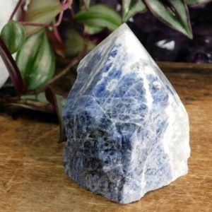 Shop Sodalite Points & Wands! Blue Sodalite Gemstone Altar Crystal with Polished Point and Raw Sodalite Base, Sodalite Meditation Crystal ~3140 | Natural genuine stones & crystals in various shapes & sizes. Buy raw cut, tumbled, or polished gemstones for making jewelry or crystal healing energy vibration raising reiki stones. #crystals #gemstones #crystalhealing #crystalsandgemstones #energyhealing #affiliate #ad
