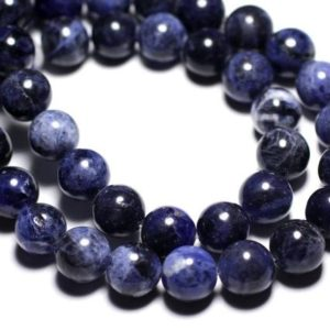 Shop Sodalite Bead Shapes! Wire 32pc – beads of stone – Sodalite balls 12 mm approx 39cm | Natural genuine other-shape Sodalite beads for beading and jewelry making.  #jewelry #beads #beadedjewelry #diyjewelry #jewelrymaking #beadstore #beading #affiliate #ad