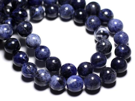 Wire 32pc - Beads Of Stone - Sodalite Balls 12 Mm Approx 39cm