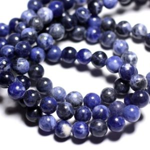 Shop Sodalite Bead Shapes! Wire 63pc – beads of stone – Sodalite balls 6 mm approx 39cm | Natural genuine other-shape Sodalite beads for beading and jewelry making.  #jewelry #beads #beadedjewelry #diyjewelry #jewelrymaking #beadstore #beading #affiliate #ad