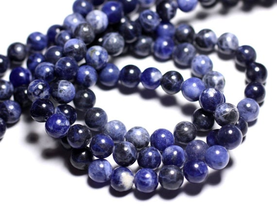 Wire 63pc - Beads Of Stone - Sodalite Balls 6 Mm Approx 39cm
