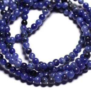 Shop Sodalite Bead Shapes! Wire 93pc – beads of stone – Sodalite balls 4 mm approx 39cm | Natural genuine other-shape Sodalite beads for beading and jewelry making.  #jewelry #beads #beadedjewelry #diyjewelry #jewelrymaking #beadstore #beading #affiliate #ad