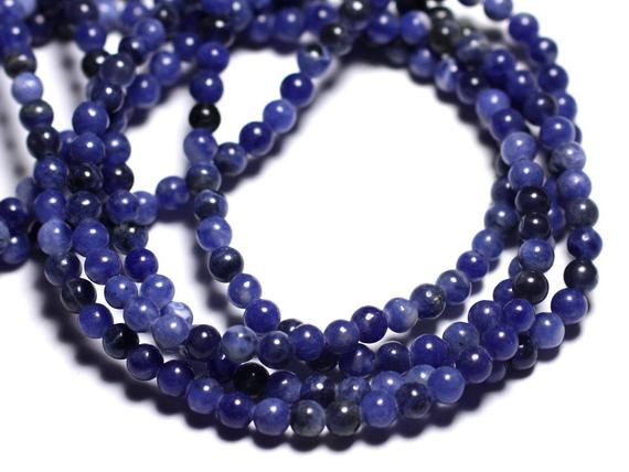 Wire 93pc - Beads Of Stone - Sodalite Balls 4 Mm Approx 39cm
