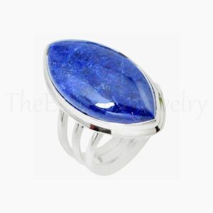 Shop Sodalite Rings! Marquise Sodalite Ring, Blue Gemstone, 925 Sterling Silver, Triple Band Ring, Statement Ring, Women's Jewelry, Christmas Sale, Gift Ring   Natural genuine Sodalite rings, simple unique handcrafted gemstone rings. #rings #jewelry #shopping #gift #handmade #fashion #style #affiliate #ad
