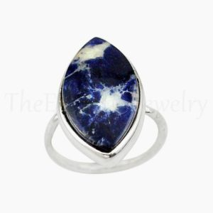 Shop Sodalite Rings! Marquise Sodalite Ring, Natural Gemstone, 925 Sterling Silver, Single Band Ring, Statement Ring, Women's Jewelry, Christmas Sale, Gift Ring   Natural genuine Sodalite rings, simple unique handcrafted gemstone rings. #rings #jewelry #shopping #gift #handmade #fashion #style #affiliate #ad